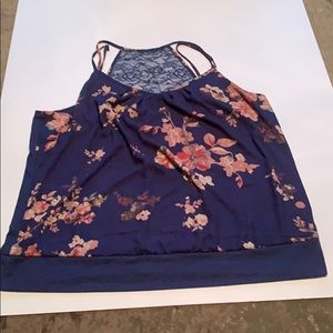 Maurice's floral tank top with lace back